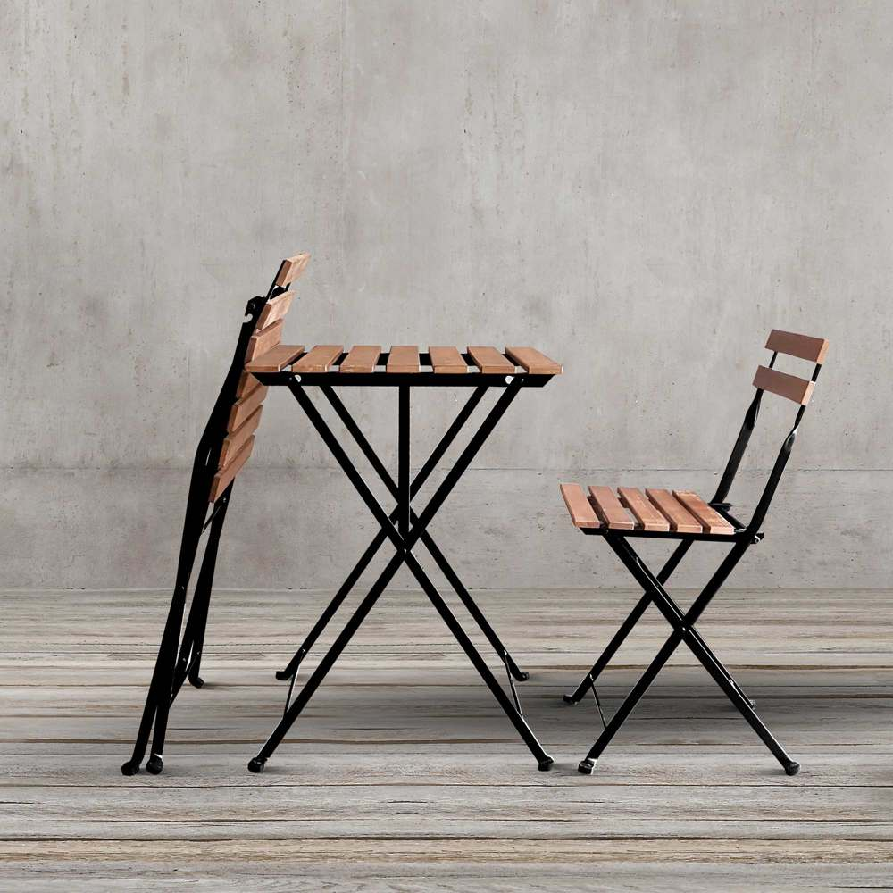 MODERN TARNO TWO-PERSON OUTDOORS FOLD-ABLE TABLE AND CHAIR