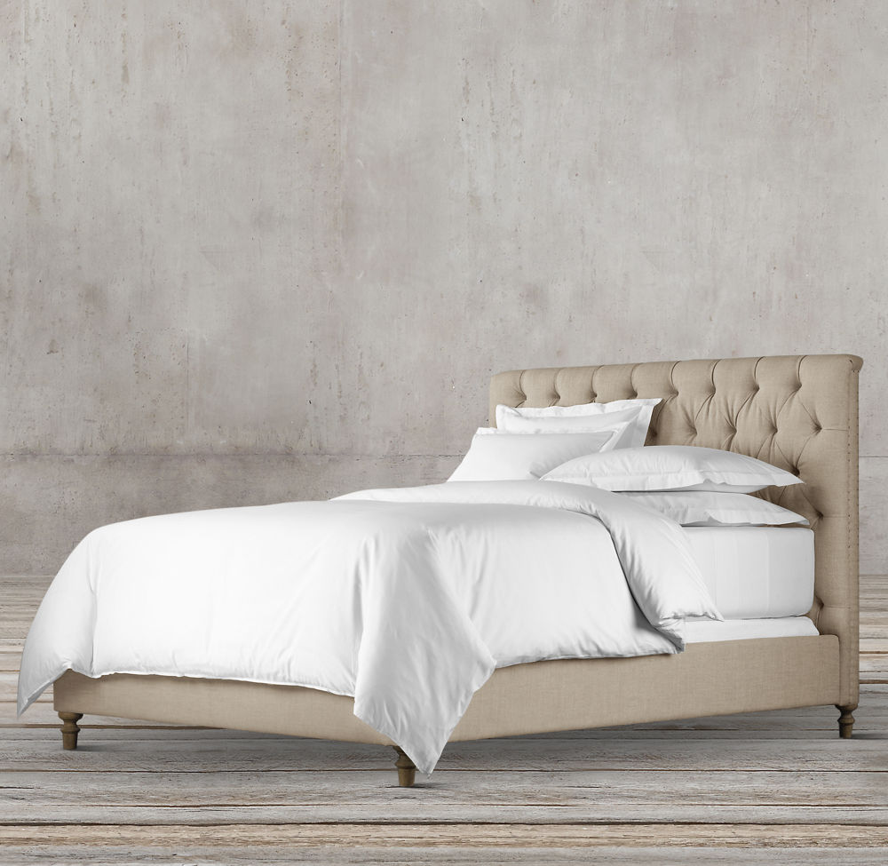 LARISA CHESTERFIELD 160cm FABRIC PANEL BED BY TOLICA